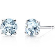 14k White Gold Round-cut Gemstone Stud Earrings - $89.10+