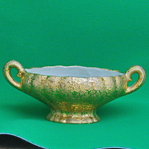 "Vintage 10"" Gold Craft USA 22K Gold & Porcelain Pedestal Bowl (Cracked) - $1.95"