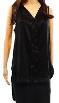 Ro & De Faux Suede Women's Large Split Neck Hi-Low Blouse Black L - $19.59