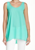 Soprano Solid Seafoam V-Neck Large Junior Tunic Top Green L - $19.59