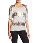 Dantelle Pebble Women's Large Sequin Stripe Blouse Beige L - $16.65