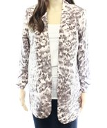 Harlowe & Graham Printed Women's Medium Open Jacket Beige M - $19.59