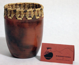 Burnished Art Pottery Clay Vase Vessel Basket W... - $49.95