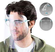 Face Safety Shield with Glasses Clear Anti Fog Bulk Protective Covers (6 Pack)