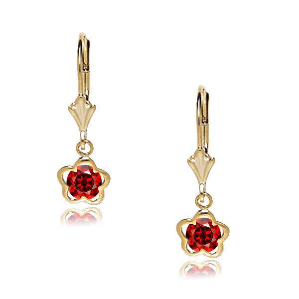Women/Children's 14K Yellow Gold 12 Month Birthstones Leverback Earrings