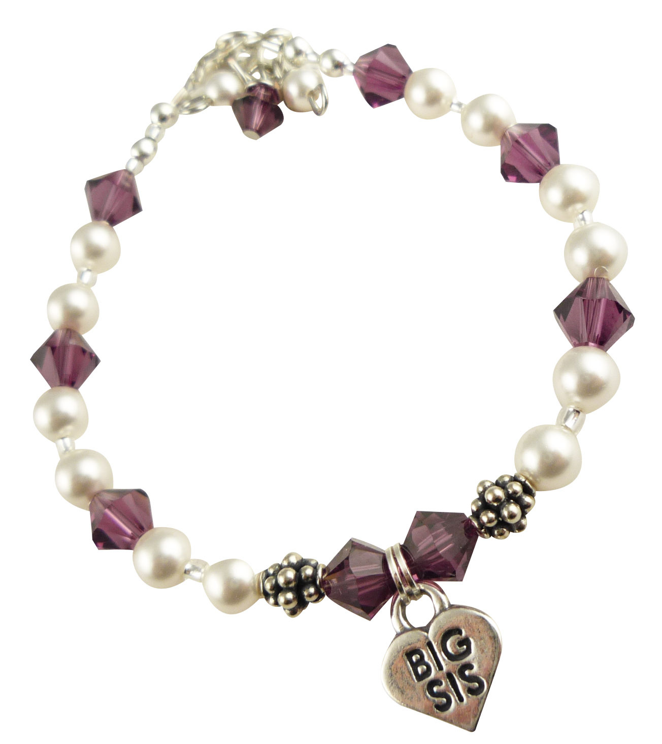 Lil Sis or Big Sis Purple Bracelet for Girl, Birthday, Baby, Crystals and Pearl