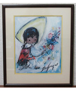 De Grazia Lithograph Little Flower Vendor Doubl... - $47.95
