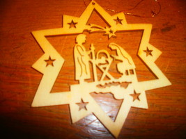 Wooden Star Ornament with Manger Scene - $3.00