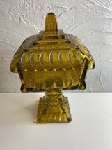 Vintage Candy Dish With Lid Brown Clear Square Grandma Dish Amber Glass - $18.69