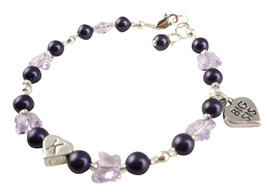 Initial Bracelet with Violet Butterfly Crystals, Big Sis or Lil Sis Purp... - $25.00