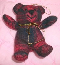 Red plaid flannel stuffed fabric bear Christmas ornament - $12.99