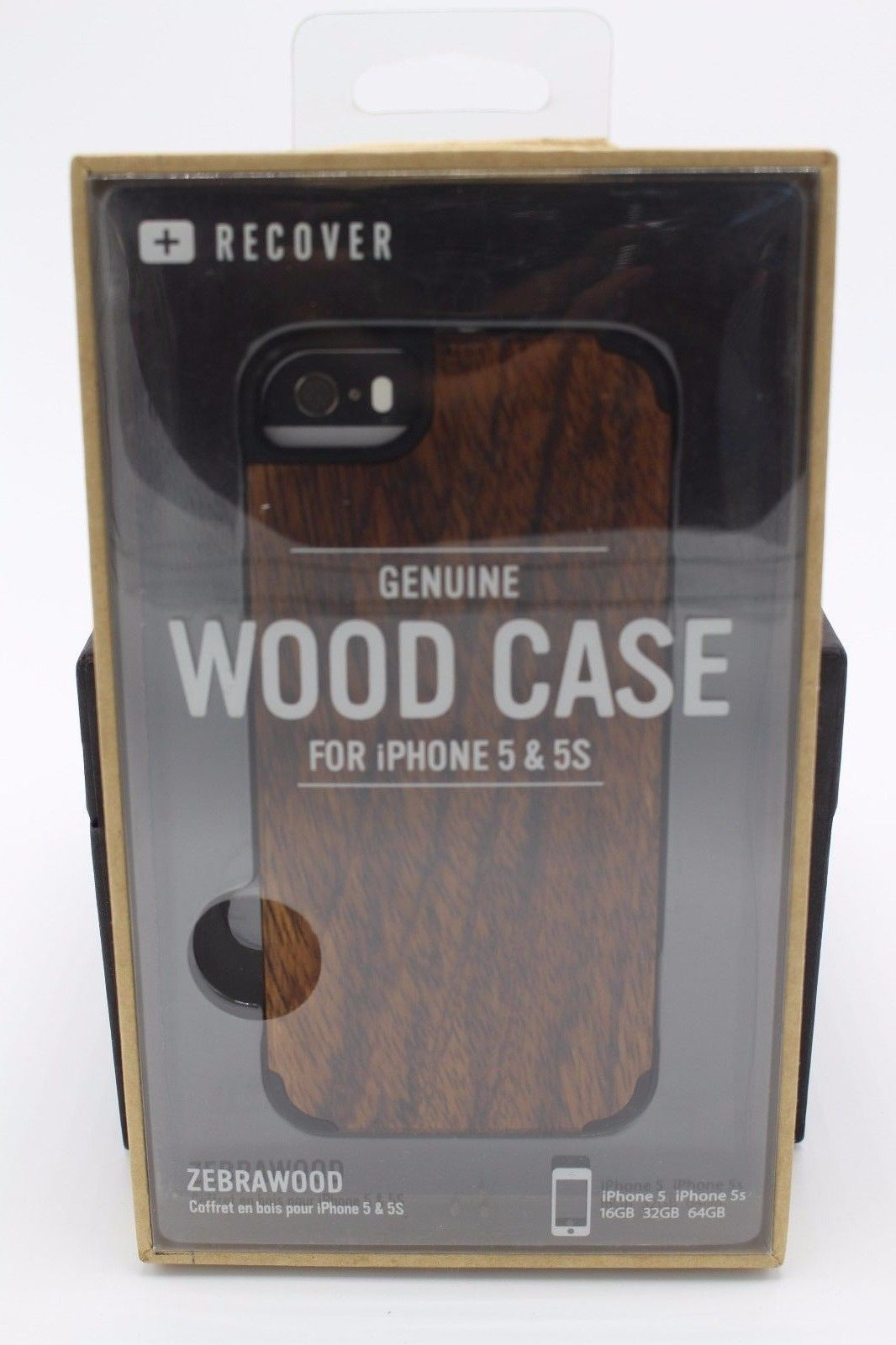 Recover iPhone 5 & 5S Wood Protective Case in Retail Packaging Zebrawood Zebra