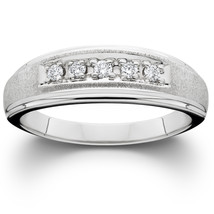 Men's Diamond Wedding Brushed Ring 10K White Gold - £149.61 GBP