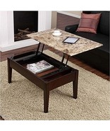 Faux Marble Lift Top Storage Living Room Decor Coffee Table Espresso Br... - $892.98