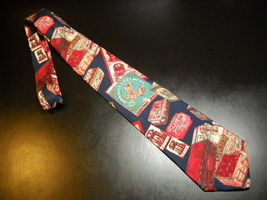 George Machado Zylos Neck Tie Italian Silk Biscuits and Tins Huntley And... - $11.99