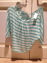 turquoise stripe top with lace back women's size large by madrag - $29.99