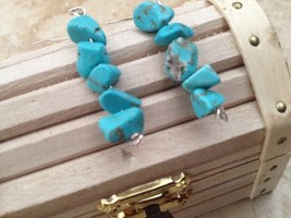 turquoise colored beaded pierced earrings - $19.99