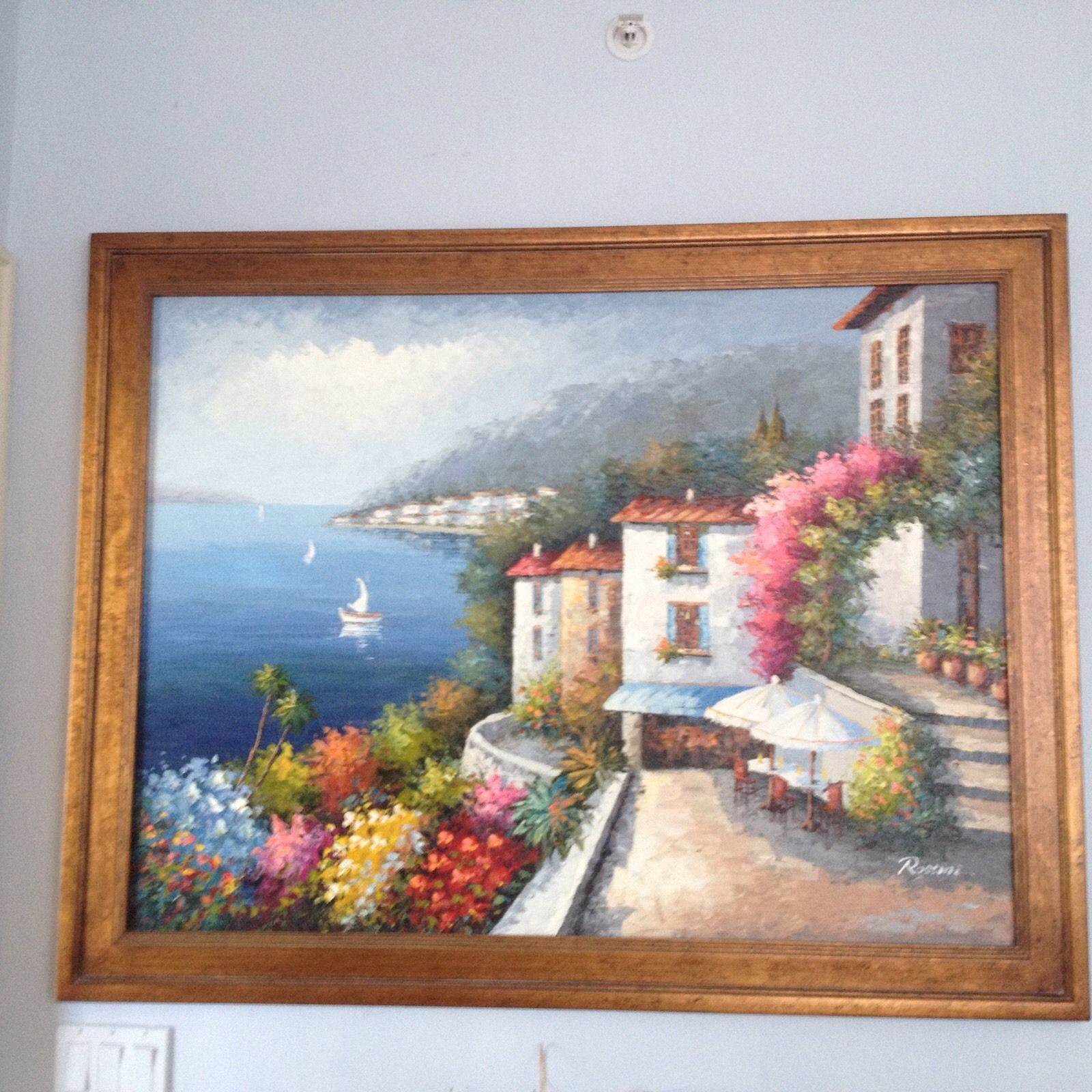 "Primary image for Ocean Beauty! Mediterranean painting by Rossini approximately 43"" X 56"""