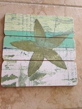 "starfish wooden tropical beach decor wall hanging 12"" X 12"" - $28.99"