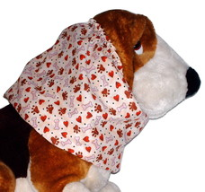 Dog Snood Beige Brown Red Hearts Paws Bones Cotton by Howlin Hounds Size... - $12.50