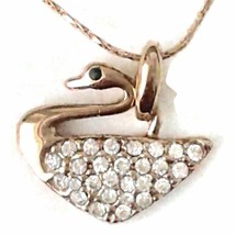 Fashion 18k Rose Gold Plated Crystal  Swan Shape Pendant Necklace. - $3.95