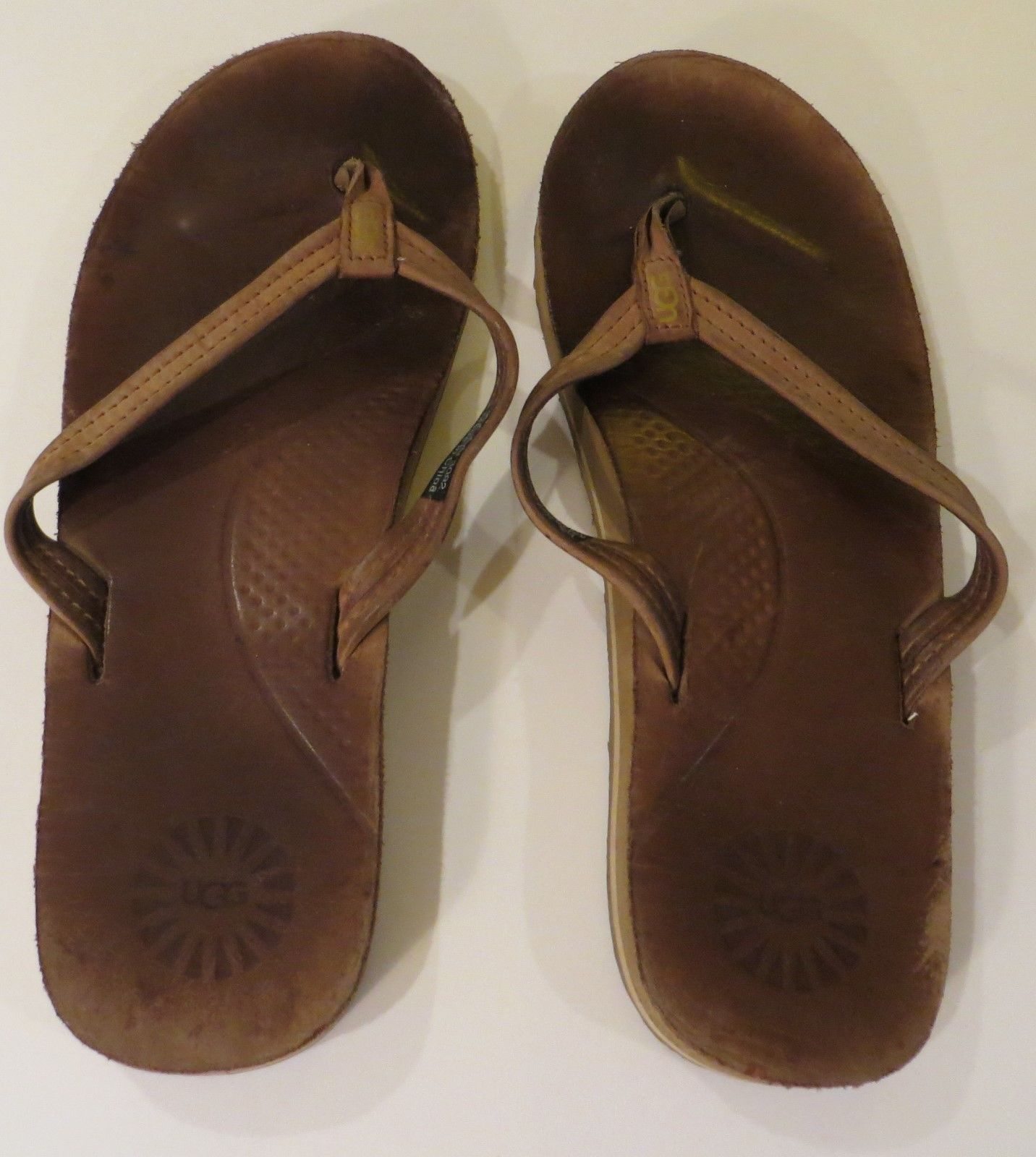 ugg kayla flip flop thong sandals brown leather us size 8 3092 sandals flip flops. Black Bedroom Furniture Sets. Home Design Ideas