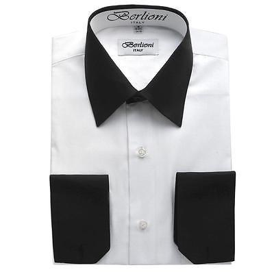 NEW BERLIONI ITALY MEN'S PREMIUM WHITE COLLAR & CUFFS TWO TONE DRESS SHIRT WHITE