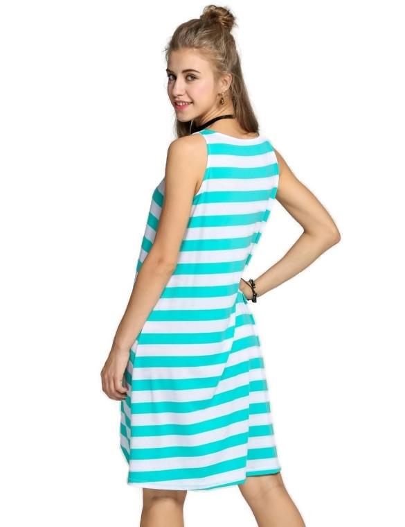 Women's Casual Stripe Irregular Beach Dress Sleeveless Sundress (Green)