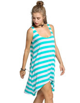 Women's Casual Stripe Irregular Beach Dress Sleeveless Sundress (Green) - €11,53 EUR