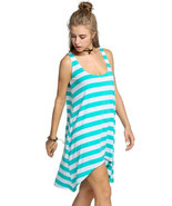 Women's Casual Stripe Irregular Beach Dress Sleeveless Sundress (Green) - £10.58 GBP