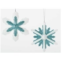 2 Holiday Snowflake Hanging Ornaments White and... - $7.91