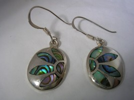 Oval Shaped Earrings With Abalone Set In Sterling Silver - $18.65