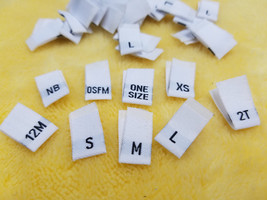 100pcs Damask Woven Size Labels ( White background with Black letter )  - $10.00
