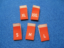 100pcs Damask Woven Size Labels ( Red background with White letter )  - $10.00
