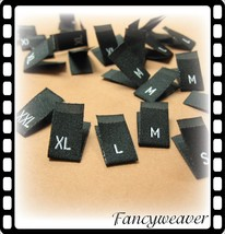 500pcs Damask Woven Size Labels ( Black background with White text ) - $27.50
