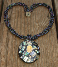 Vintage Abalone Shell Inlay Bead Necklace - $25.00
