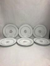 6 pcs. Mid Century Modern NORITAKE Stanton 5407 DINNER plate 10 inch sil... - $64.34