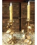 Vintage 50's Hollywood Regency GOLD Gilt METAL TOLE ROSES CANDELABRAS NO... - $23.76