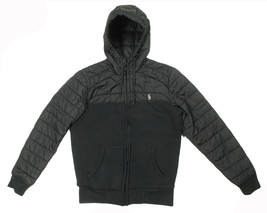 NEW POLO SPORT RALPH LAUREN FULL ZIP BLACK QUILTED FLEECE HOODIE JACKET XS - $179.99