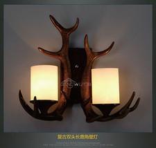 Antler Double Sconce Brown E27 Light Wall Lamp Retro Lighting Fixture Milk Glass - $123.67