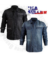 Mens Denim Shirts Button Front Quilted Long Sleeves Casual Shirt Washed ... - $24.95