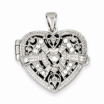 STERLING SILVER SMALL CZ HEART DESIGN  LOCKET PENDANT CHARM- 5.5 GRAMS - $70.77