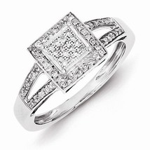 STERLING SILVER .20CT SQUARE SHAPED HALO DIAMOND CLUSTER RING - SIZE 7 - £191.42 GBP