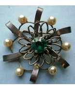 Sterling Silver Brooch/Pin with Blue Rhinestone... - $19.80