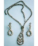 Rhinestone Necklace and Earrings, vintage - $24.70