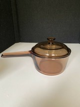 Corning Ware Visions Amber Glass Cookware 1L Ovenware Sauce Pan w/ Pyrex... - $28.70