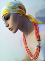 Orange Multi Strands Torsade Plastic Beaded Hand-knotted True Vintage Ne... - $44.55