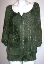 Dressbarn Top L Green Boho Hippy Tie Dye Sequins Stretch Knit Tunic Shir... - $15.85