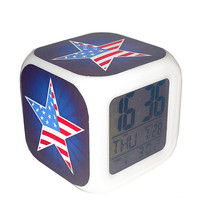 Led Alarm Clock USA National Flag Star Creative Desk Digital Alarm Clock... - $19.99
