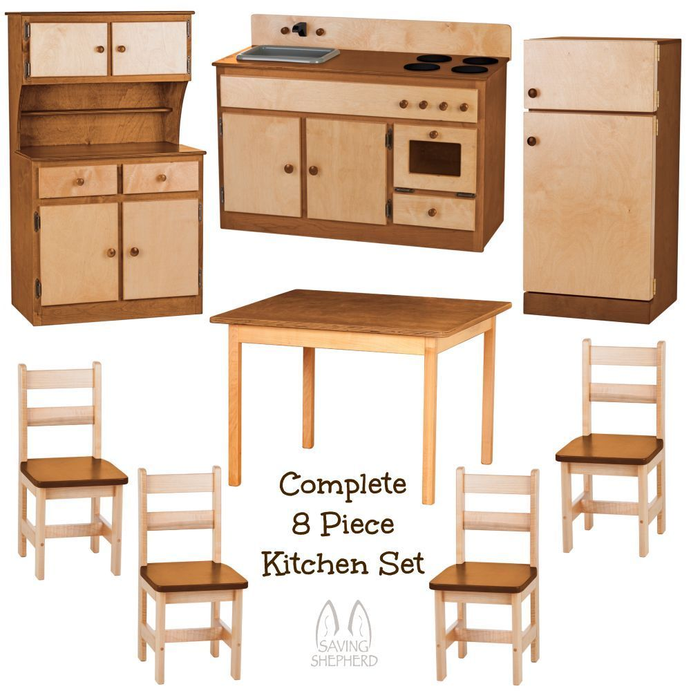 Deluxe kitchen play set 8pc natural walnut amish handmade for Kitchen set natural